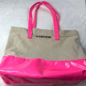 Victoria's Secret Hot Pink Canvas beach bag